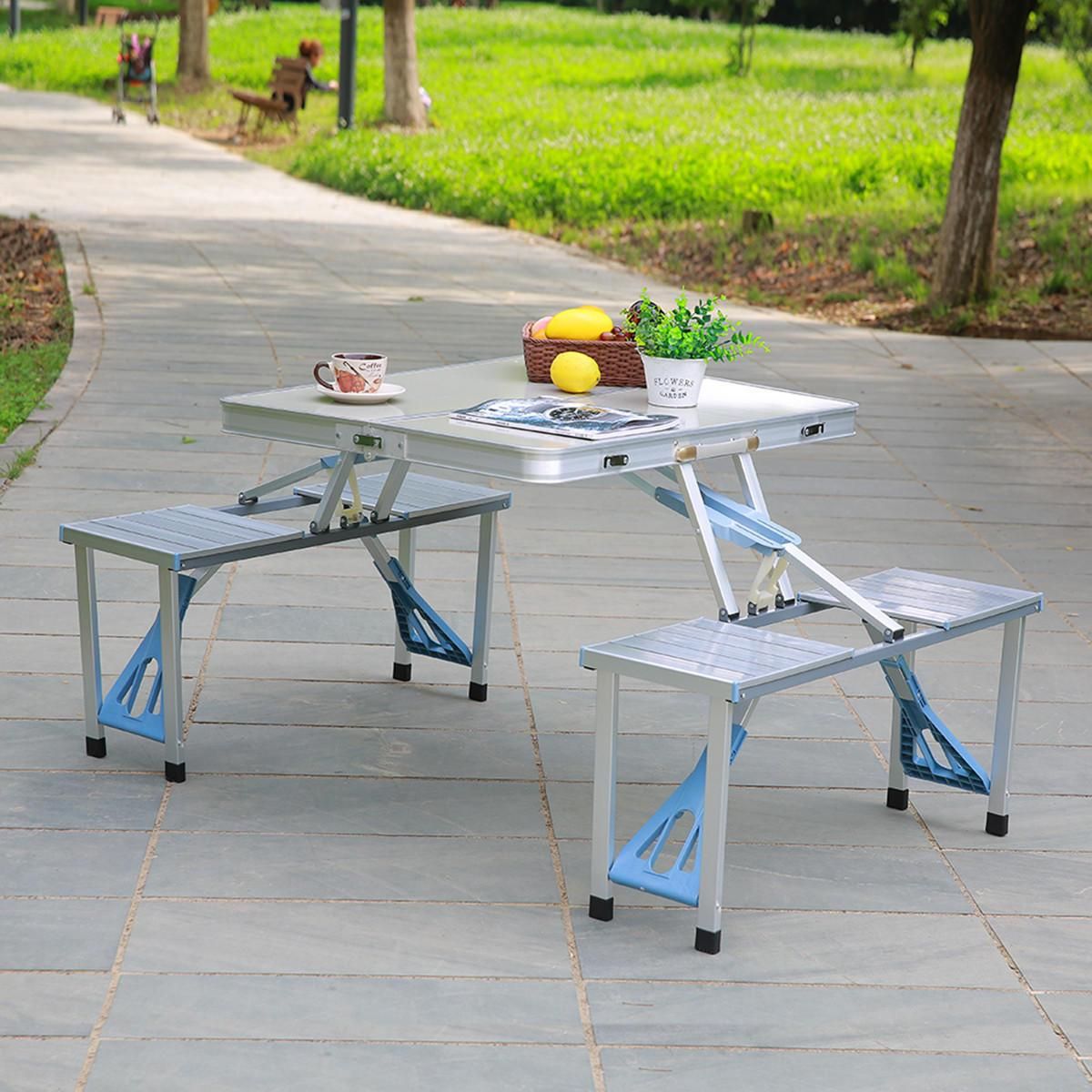 Table Valise + 4 Tabourets Mobilier D Extérieur Nouveau Style Portable En Alliage D Aluminium En Plein Air Portable Camping Pique Nique Barbecue Pliant Table Chaise Tabouret