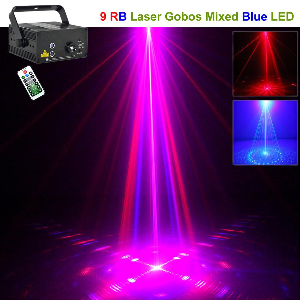 Eclairage Scene Spectacle Aucd Mini Ir Remote 9 Big Patterns Projecteur Laser Bleu Bleu Rouge 3w Bleu Led Effet Mix Dj Home Party Club Spectacle Éclairage De Scène