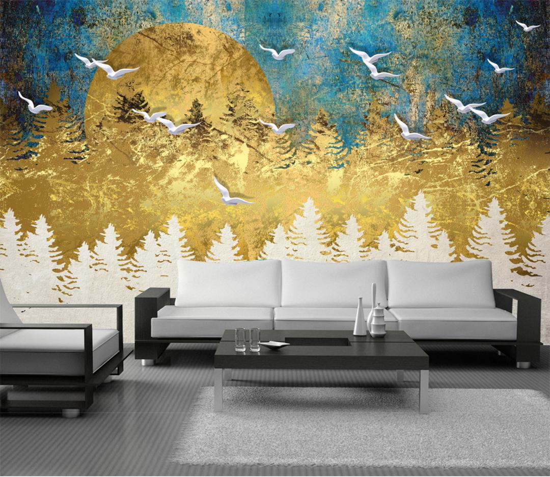 Art Decoration Conception Retail New Chinese Abstract Artistic Conception Golden Pine Forest Flying Bird Mural Background Wall Bird Spring Pine Forest Mural