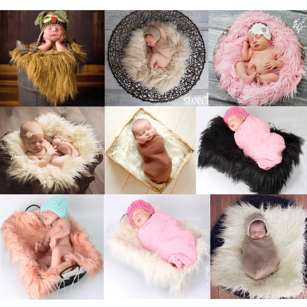 Baby Schlafkissen Faux Fur Baby Receiving Blanket Newborn Photography Prop Rug 50 60cm Swaddling Mat Baby Sleeping Cushion Carpet Photo Background