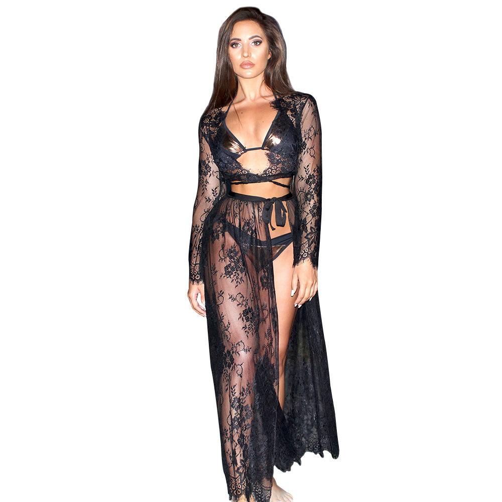 Krawattenrock Summer 2018 See Through Sex Skirt Outfit From Europe And America With Lace Top Tie Skirt 2 Pieces