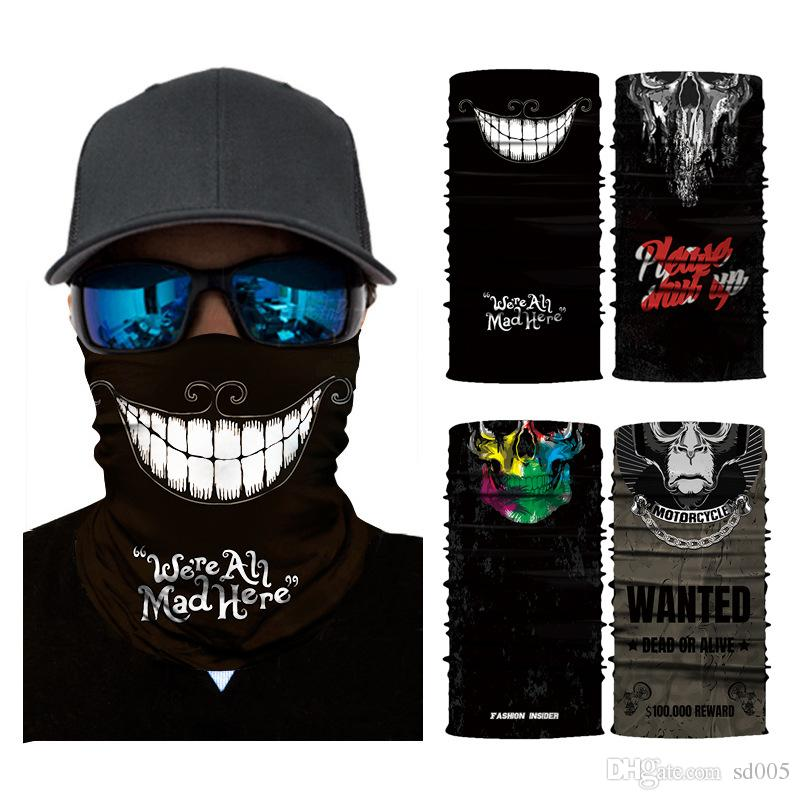 Halloween Skull Bandana Fashion 3D Seamless Cotton Neck Face Mask