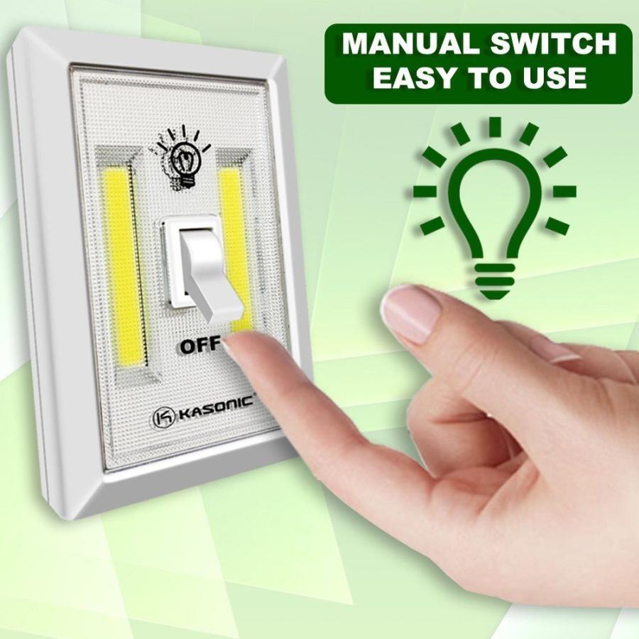 200 Lumen Cob Led Wall Switch Night Light Cordless Battery Operated White Light Portable 200 Lumen High Quality