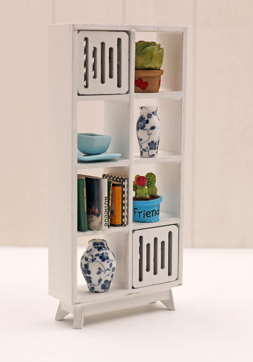 Bookcase Cabinet Dollhouse Miniature Furniture White Bookshelf Bookcase Library Wood Cabinet