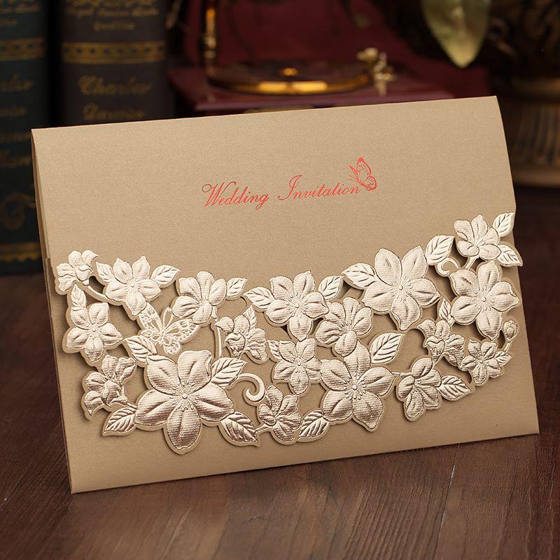 Red / Gold Wedding Invitations 2018 Embossed Laser Cut Flower