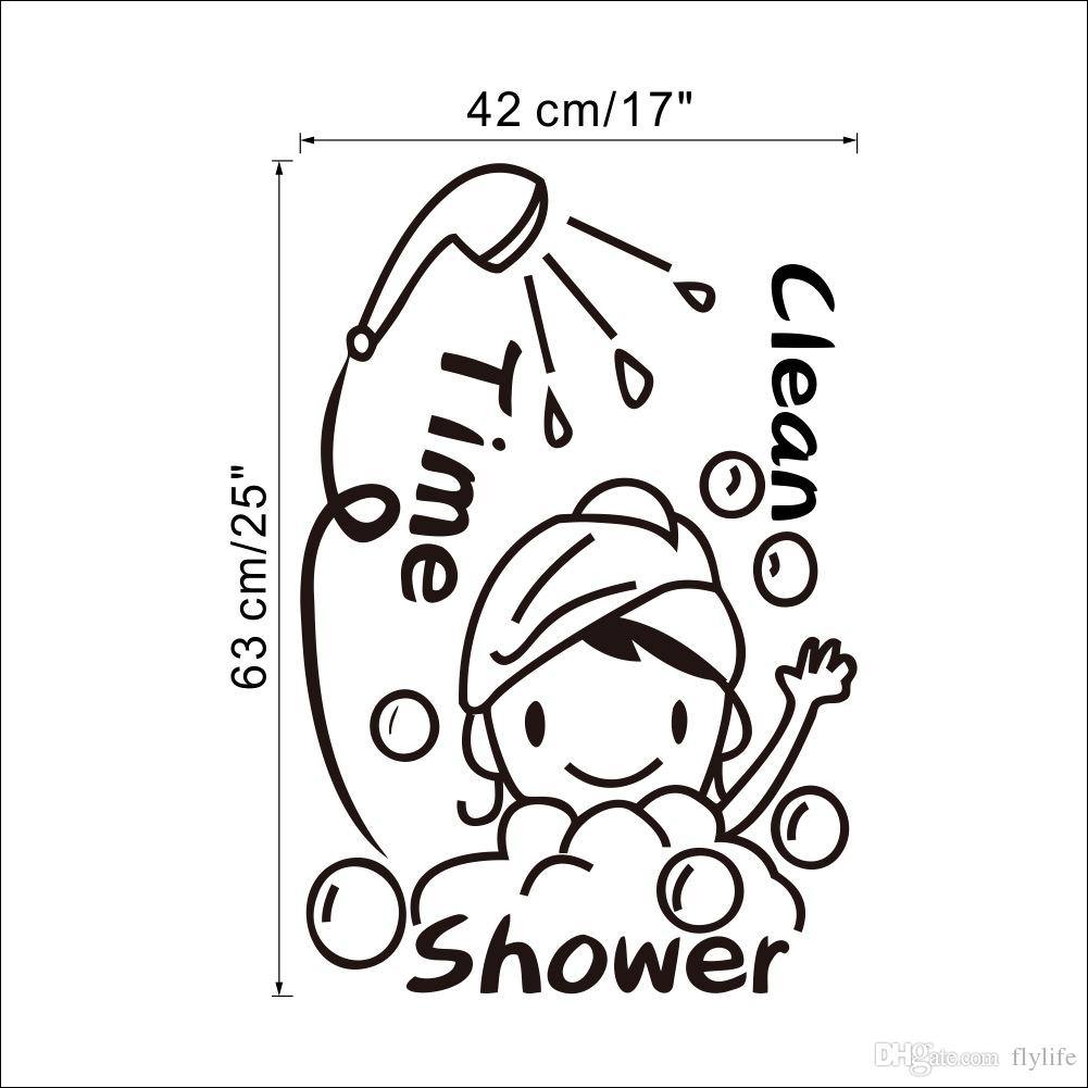 Bathroom Wall Art Decor Shower Time Bathroom Wall Decor Stickers Lovely Child Removable Vinyl Waterproof Wall Art Decal