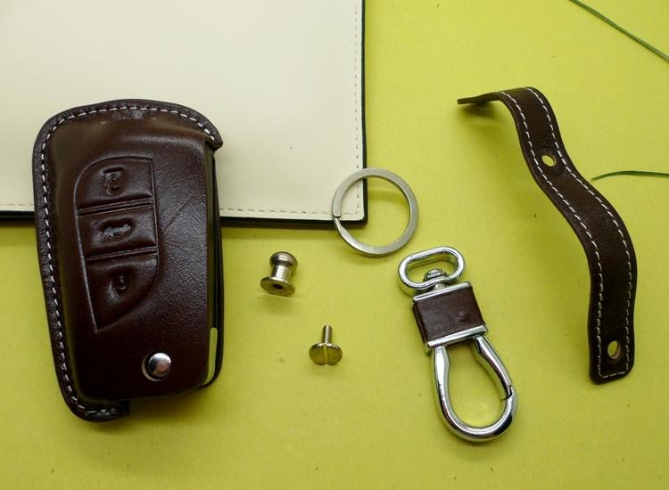 Genuine Leather Car Key Cover Key Holder Case For Toyota
