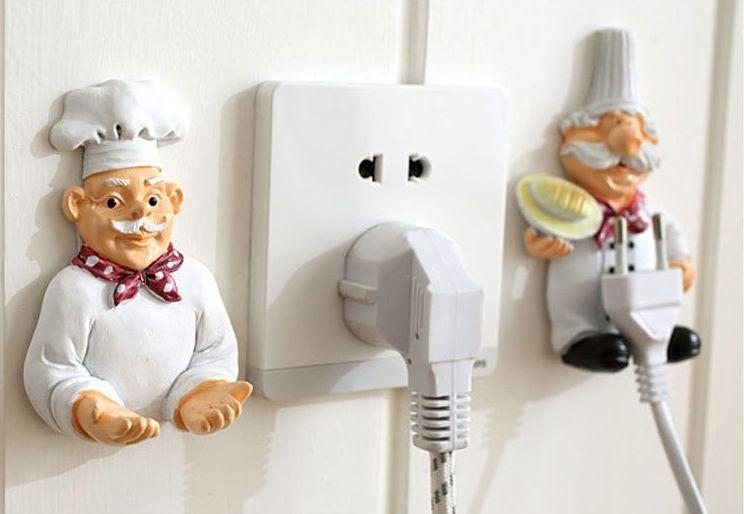 Cartoon Cook Chef Outlet Plug Holder Cord Storage Rack