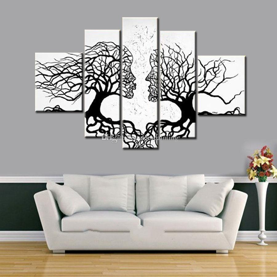 Black And White Canvas Pictures 100 Hand Made Promotion Black White Tree Canvas Painting Abstract Kiss Art Home Decor Oil Painting On Canvas 5pcs Unframed