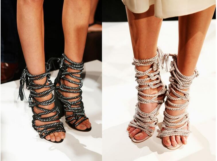 Sexy Chains Rope Sandals Strappy High Heel Gladiator