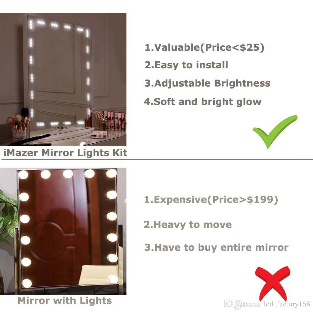 Spiegel Mit Installation Badezimmer Make Up Spiegel Licht 10ft 60led Spiegel Mit Fernbedienung Und Dimmer Vanity Licht Kit Diy Kosmetik Hollywood Make Up Spiegel