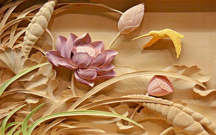 Wallpaper Dinding 3d Ruang Tamu 3d Woodcut Lotus Flower Wallpaper Personalized Custom Wall