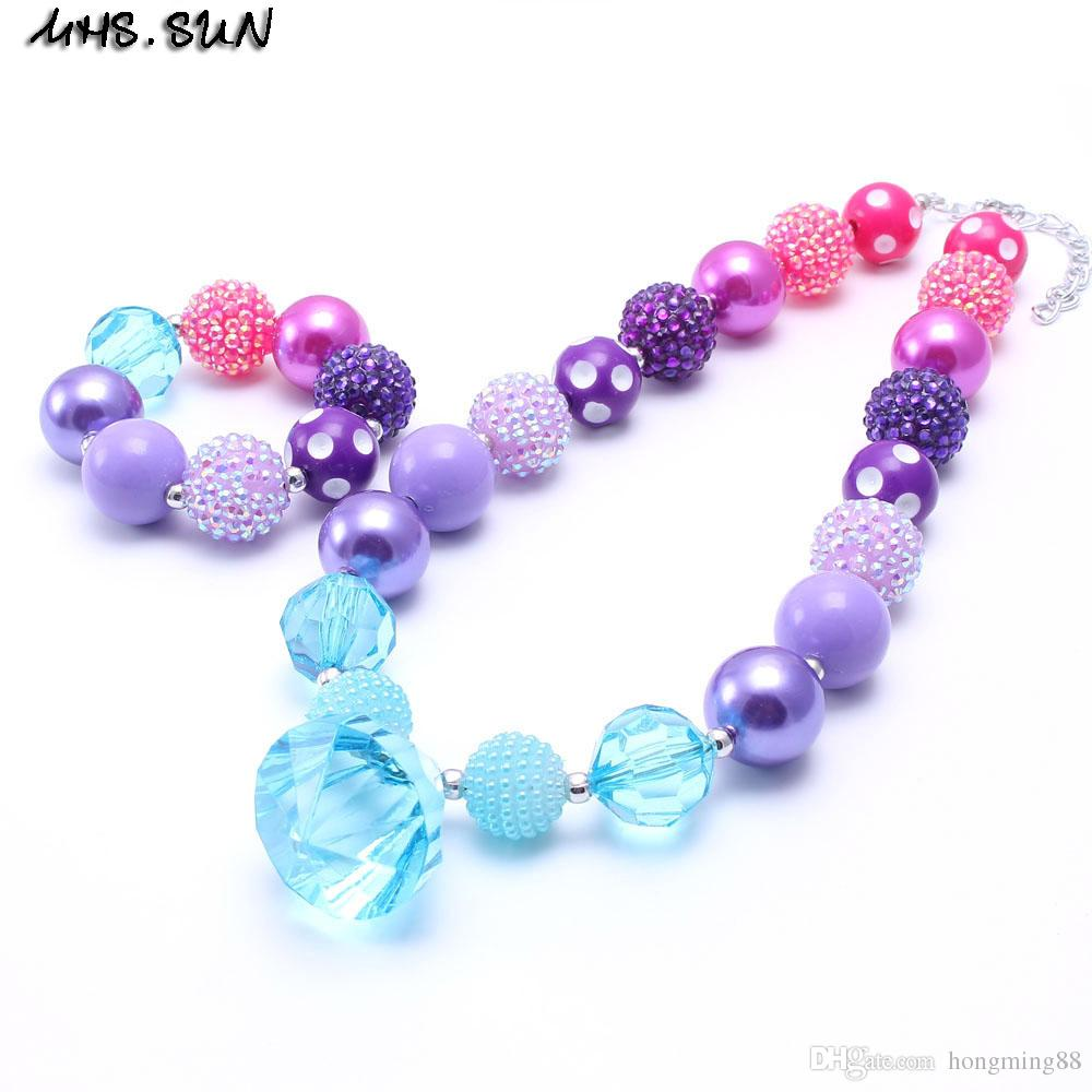 Bleu Enfant Mhs Sun Purple Couleur Bleu Enfant Chunky Collierbracelet Ensemble Mode Diy Enfants Fille Enfant Enfant Bubblegum Chunky Perle Collier Bijoux