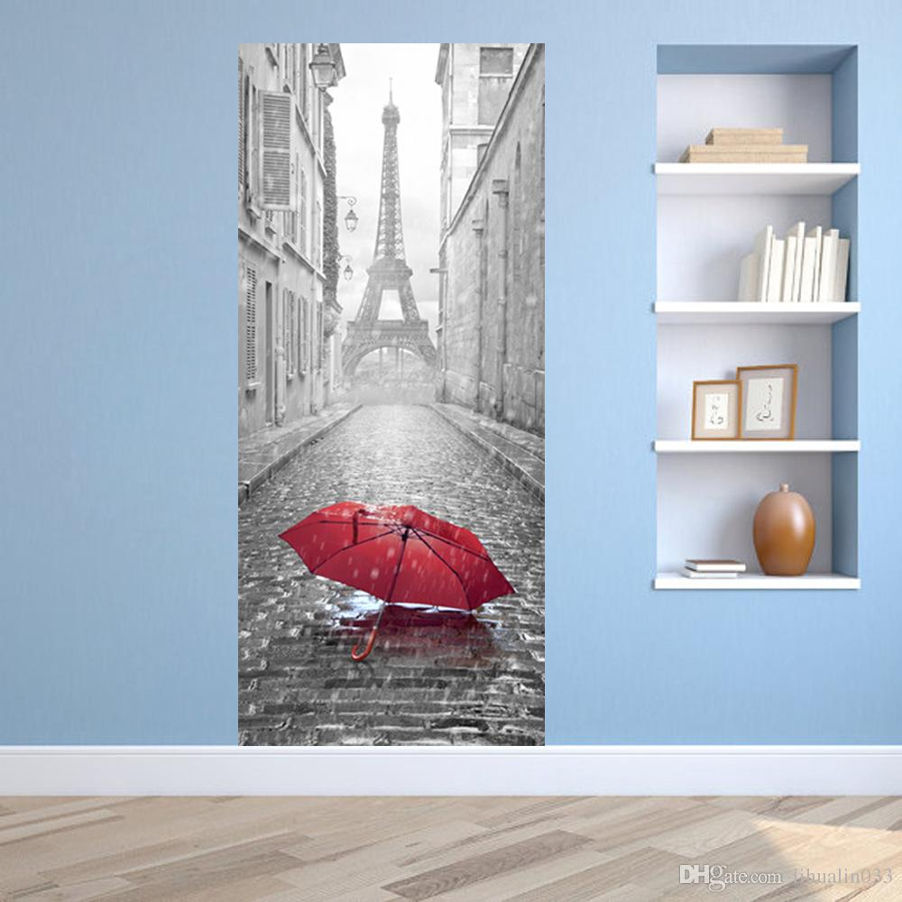 Porte Photo Mural Original 3d Porte Autocollant Diy Mural Imitation Paris Tour Eiffel Imperméable Autocollant Porte Autocollants Chambre Home Decor Pvc Papier Peint