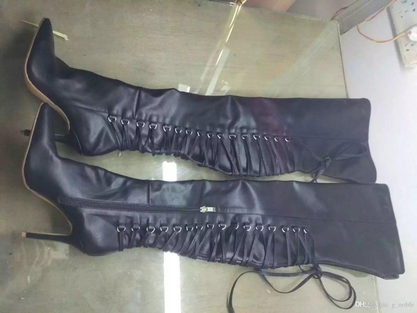 Sexy Pointy Stiletto Heel Thigh High Boots Black Leather