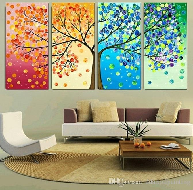 Wall Art Leinwandbilder 2019 2016 40x60x4 Four Seasons Tree Wall Canvas Painting