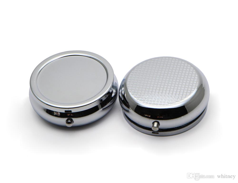 10x Pill Organizer Box Of Medicine Diy Silver Round Metal