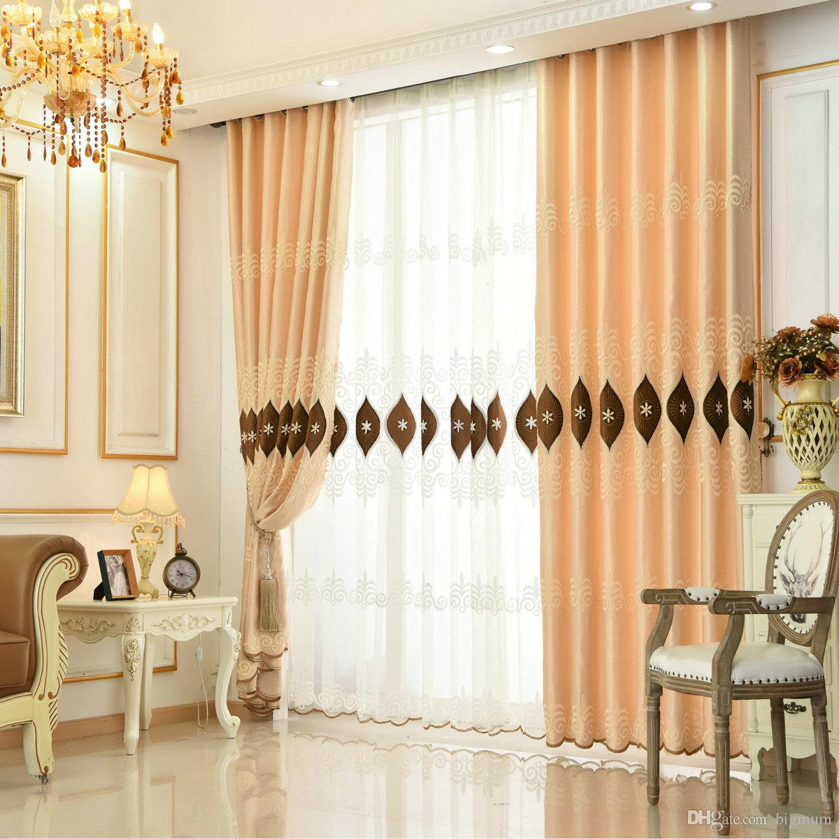 94 Inch Blackout Curtains High Quality Luxury Water Soluble Embroidery Blackout Curtain For Living Room Bedroom Leaves Stars Tulle For Window Treatment