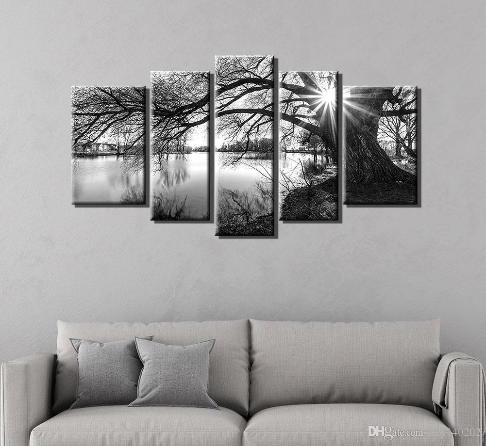 Black And White Artwork For Bedroom Yijiahe Painting Modern Wall Art Black And White Tree Print On Canvas Contemporary Framed Artwork For Living Room Bedroom Decoration