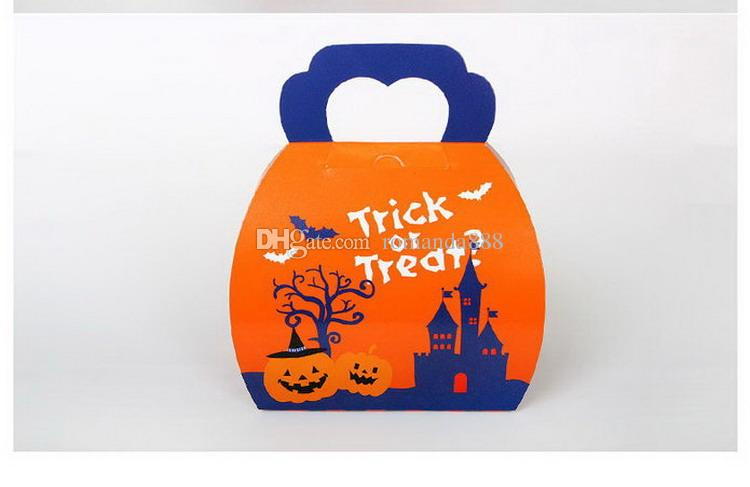 Halloween Festival Trick Or Treat Pumpkin Paperboard Candy Box Gift