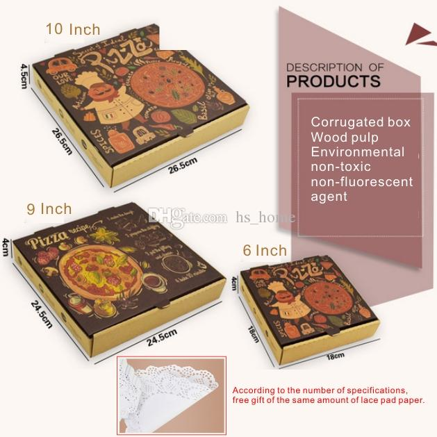 6 9 10 Inch Pizza Box Wood Pulp Environmental Non-toxic Non