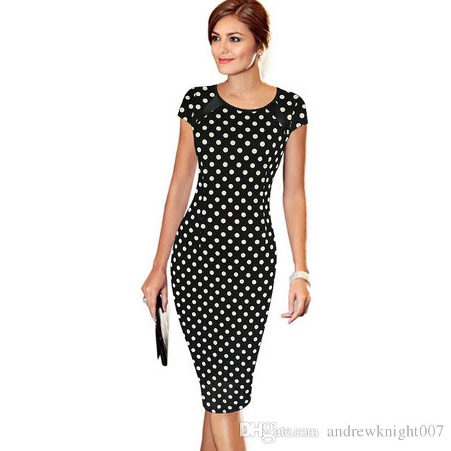 Women Spring Summer Printed Synthetic Leather Wear To Work Office - stripes with polka dots
