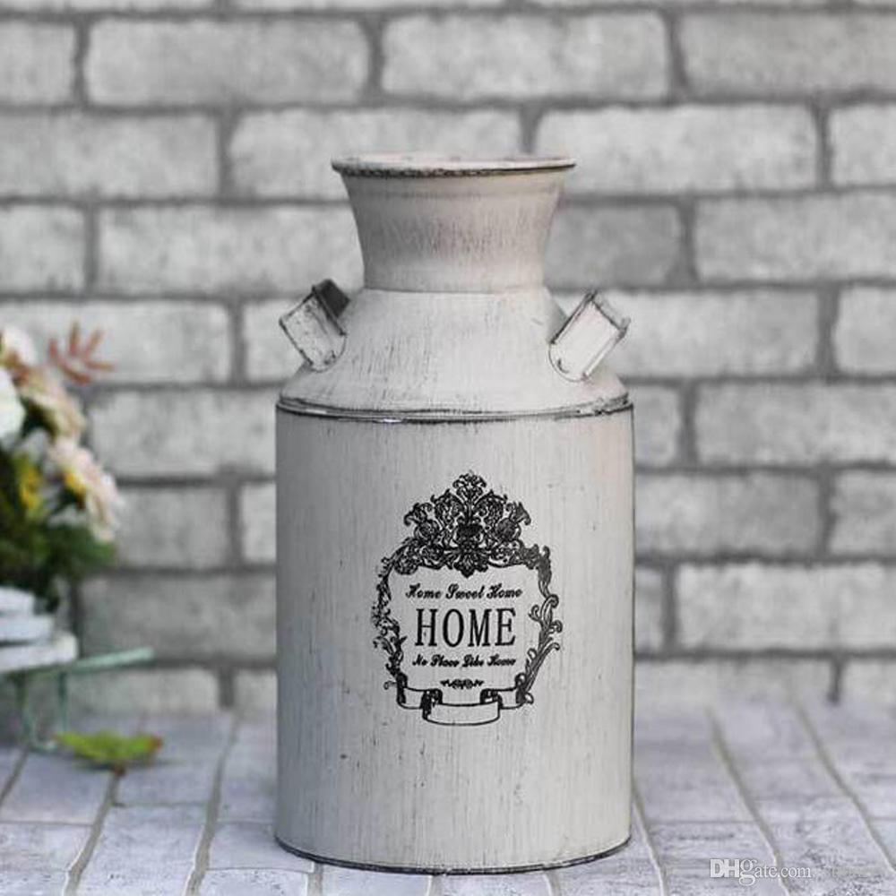 Decorative Milk Urn Elegant White Country Rustic Primitive Jug Vase Milk Can Flower Vase For Wedding Party Home Cafe Decoration
