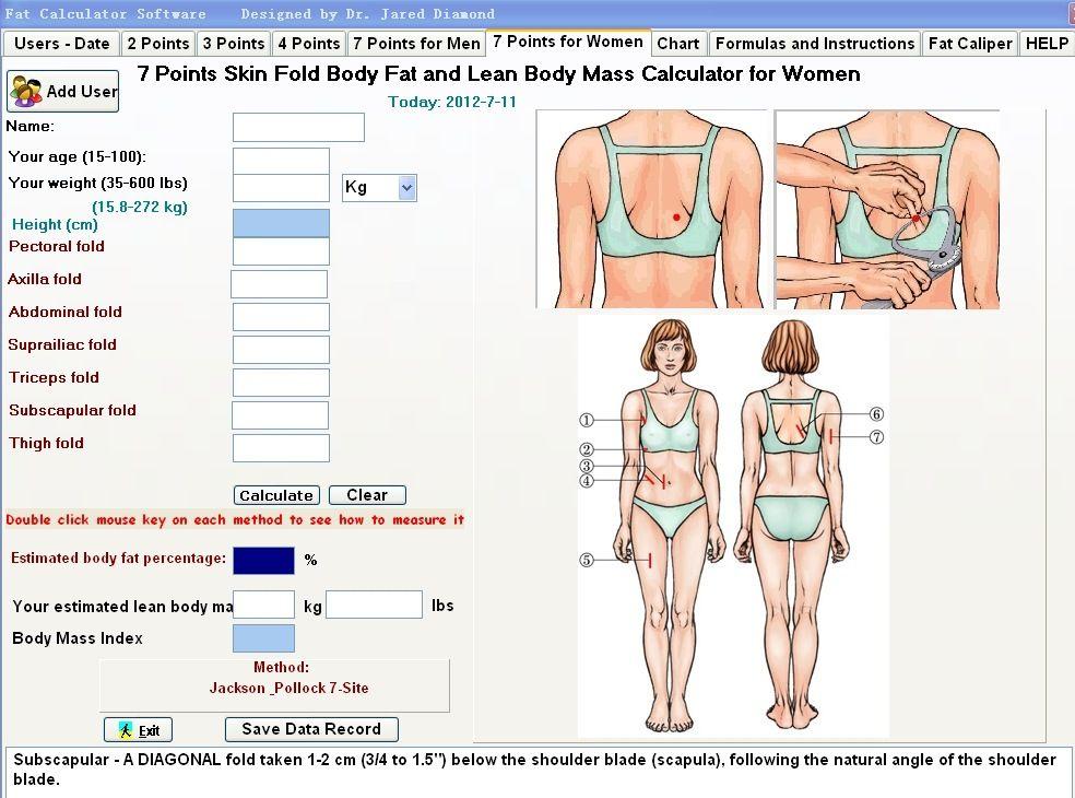 Personal Body Fat Caliper Tester Fitness Analyzer Measure Charts
