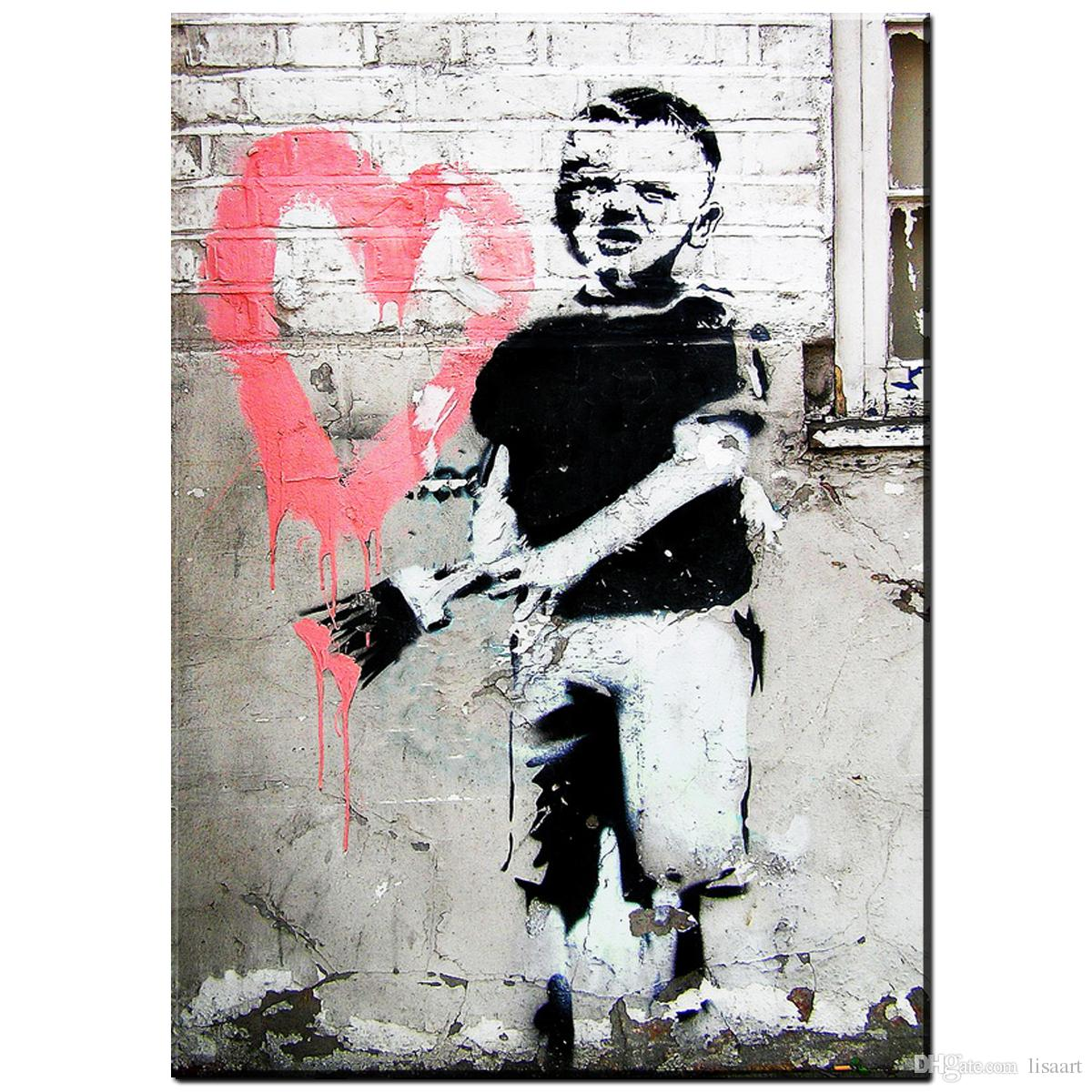 Banksy Canvas Art Zz19 Graffiti Canvas Prints Art Little Boy Brushing Heart Design Banksy Canvas Pictures Oil Art Painting For Livingroom Decor