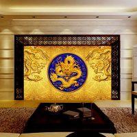 3d Luxury Wallpaper Golden Dragon Photo Wallpaper Custom ...