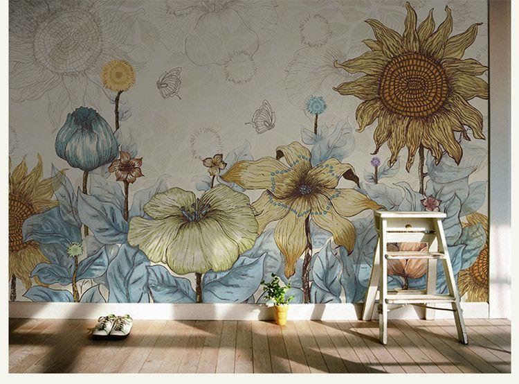 3d Printing Wallpaper Hd Sunflower Photo Wallpaper Vintage Wall Murals 3d Custom