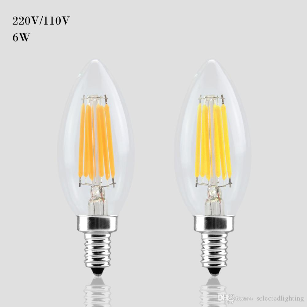 Led E 14 E14 E12 Led Light 110v 220v 2w 4w 6w Led Filament Bulb Candle Light Lamp Lampada Led Retro Edison Glass Crystal Chandeliers