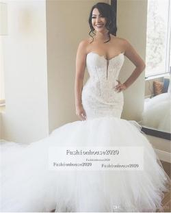 Grande Size Luxury Ivory Lace Mermaid Wedding Dresses Heart Appliques Puffy Luxury Ivory Lace Mermaid Wedding Dresses Heart Appliques Puffy Tulleball Gown Wedding Dress