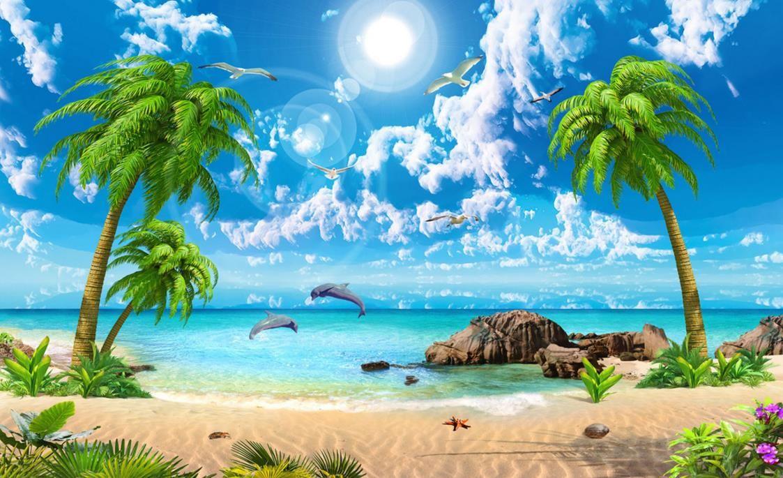 Aai 3d Wallpaper Купить Оптом Hd Красивые Обои Морской Кокосовый Пляж