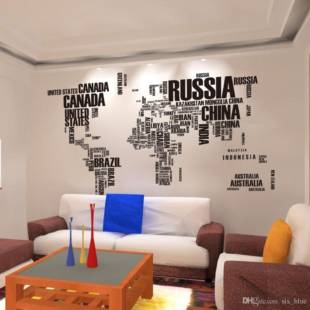 Carte Monde Murale Affiche Pvc Lettre Monde Carte Citation Amovible Vinyle Art Stickers Murale Salon Bureau Décoration Stickers Muraux Décor À La Maison