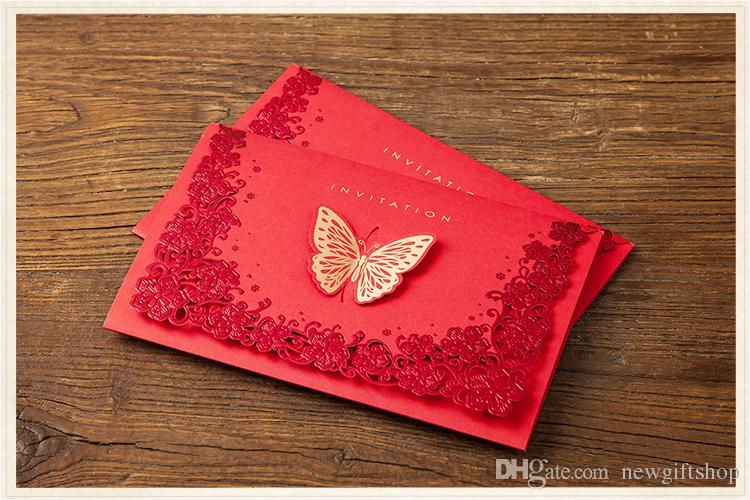 Gold Butterfly Laser Cut Invitation Cards For Wedding