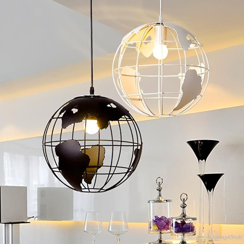 Pendant Lighting Retro Indoor Lighting Vintage Pendant Lights Globe Iron Cage Lampshade Warehouse Style Light Fixture Scandinavian Retro Lights