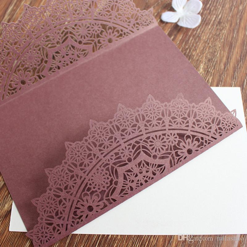 Wed Invitation Card Red Wine Color Laser Cutting Floral Invitation