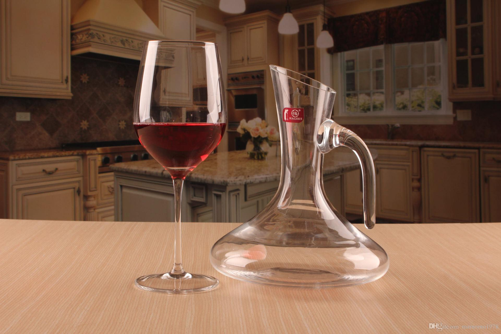 Decanter Wine Glas 1pc 1500ml New Glass Decanter Bevel Spout Wine Decanter Wine Aerator Container Dispenser Carafe Bottle Jug Wine Pourers J1112