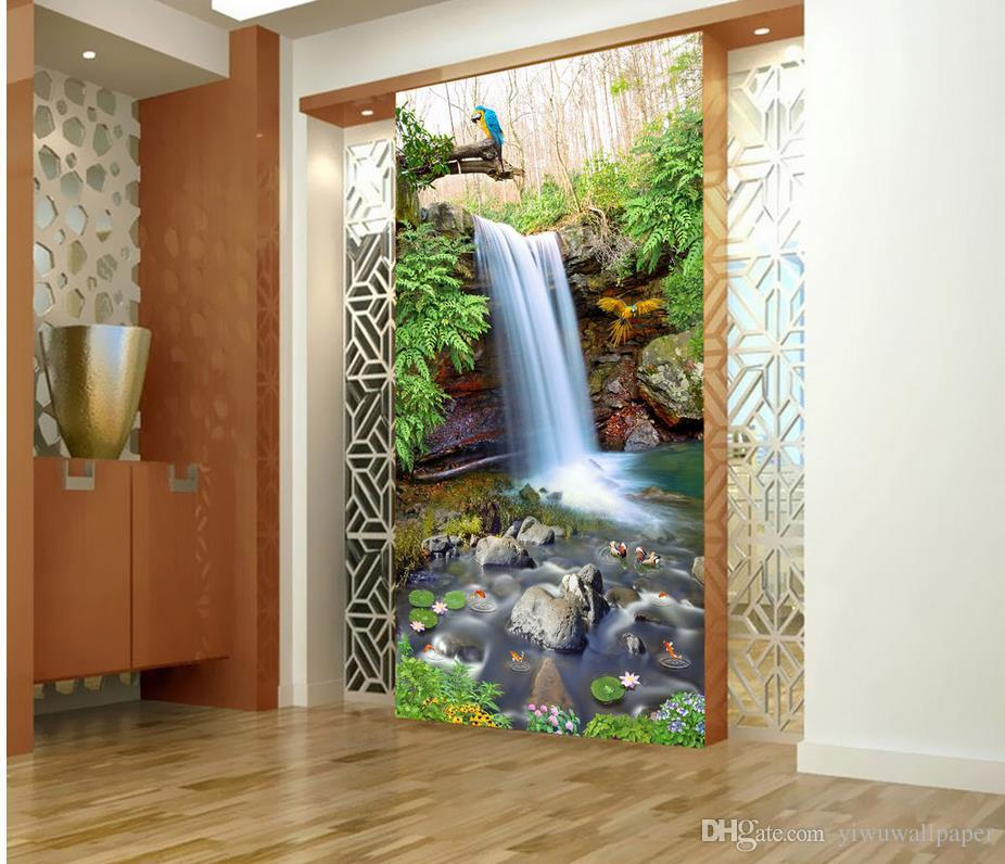 3d Stereoscopic Mural Wallpaper Waterfall Mountain Spring Pool Scenery Painting Background