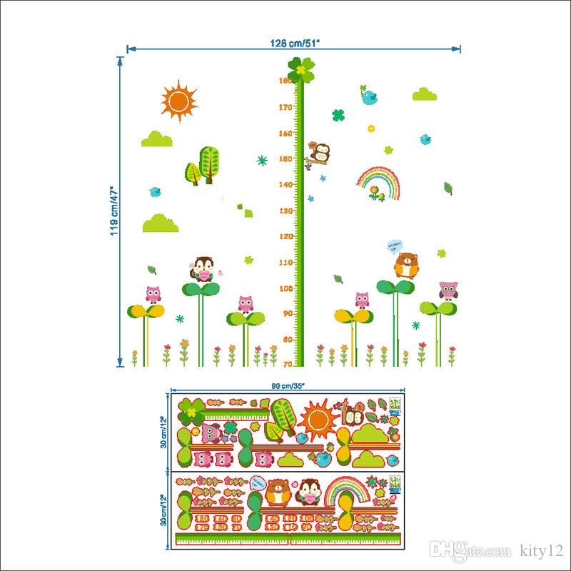 Cartoon Height Wall Sticker Chart Owl Height Ruler Wall Decal For