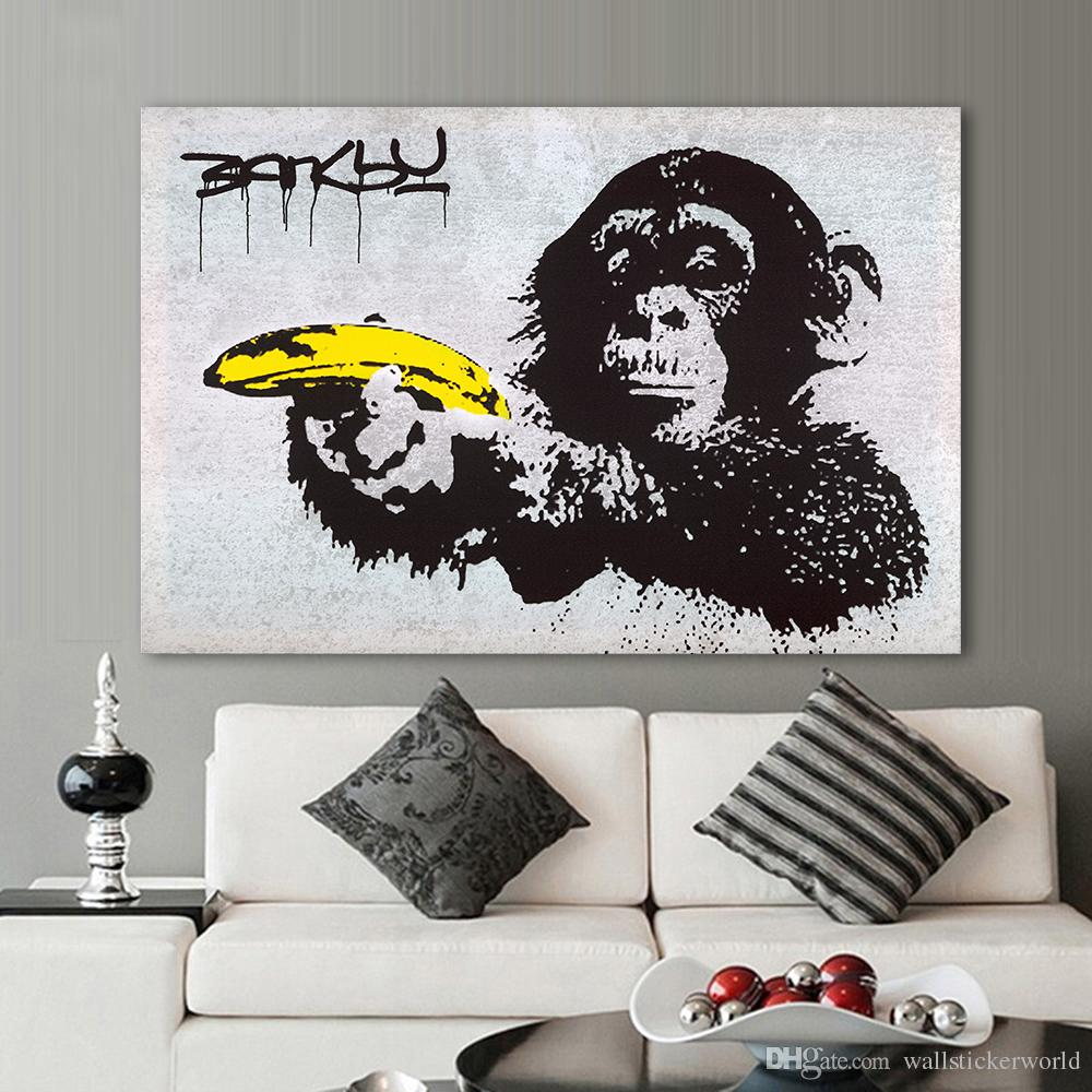 Banksy Canvas Art 1 Pcs Canvas Art Banksy Graffiti Painting Chimpanzee Holding A Banana Wall Pictures For Living Room Home Decor Printed No Framed