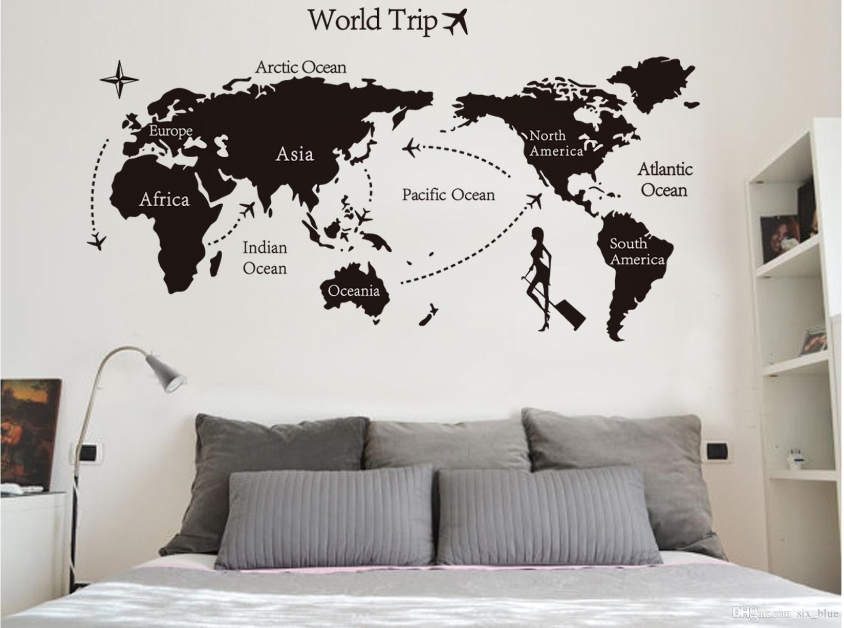 World Map Decorations Colorful Letters World Map Wall Stickers Living Room Home Decorations Creative Pvc Vinyl Decal Mural Art Diy Wall Sticker