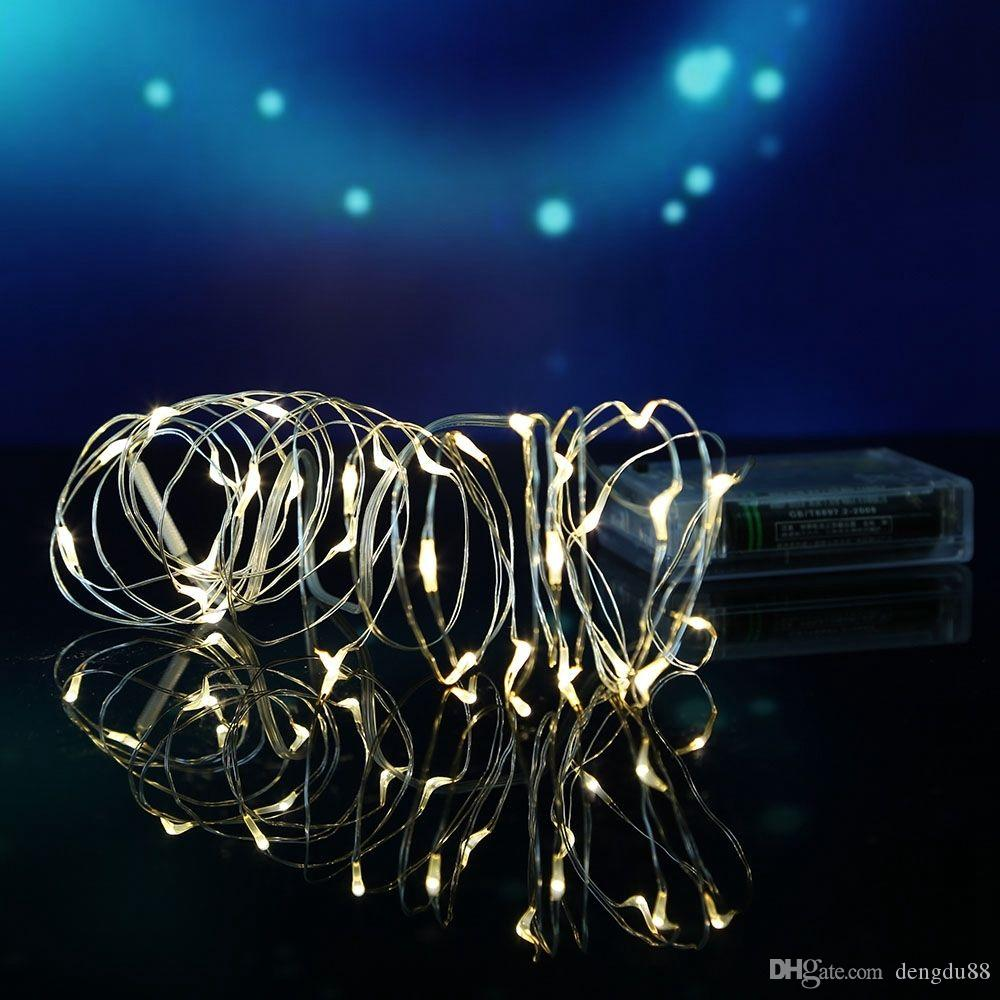 Mini Lichterkette 10 Mt 100 Leds Weihnachten String Lichterkette 3 Aa Batterien Betrieben Led String Mini Led Kupferdraht String Weihnachten Home Party Dekoration
