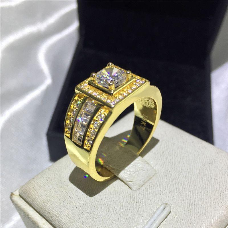 2018 Men\u0027S Premium Jewelry 10kt Gold Filled 1ct Diamond 5a Zircon Cz