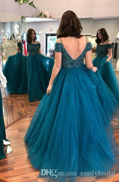 Teal Blue Ball Gown Plus Size Prom Dresses 2018 Off Shoulder Luxury