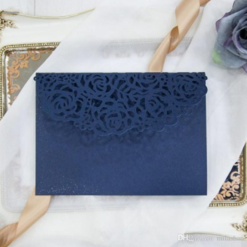 Tri Fold Pocket Wedding Invitation Card With Rsvp Envelope Navy Blue