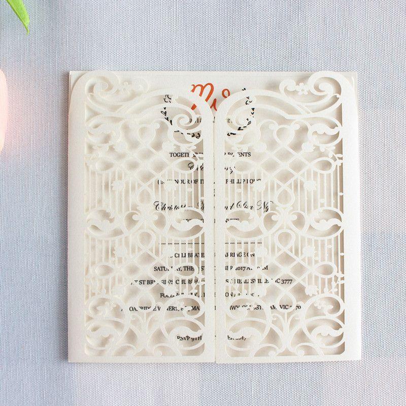 Fence Blank Wedding Invitation Cards White Silver Grey Blue