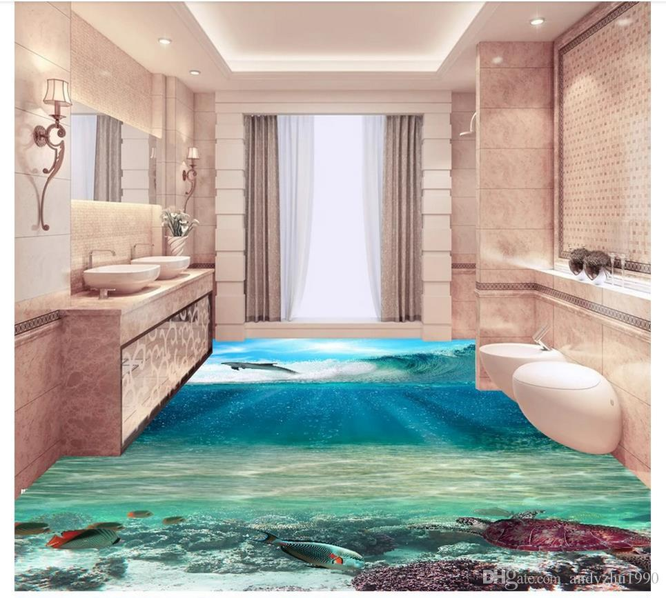 Wallpaper Murals For Bathrooms 3d Custom Wall Murals Wallpaper 3d Pvc Flooring Waterproof Self Adhesive Wall Sticker Hd 3d Sea World Bathroom Flooring