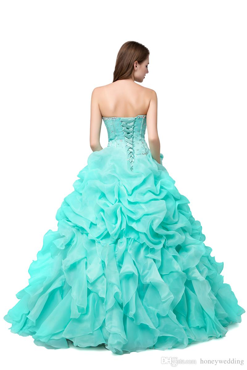 Vert Menthe Vert Menthe Vert Quinceanera Robes Pas Cher 2019 Robe De Bal Mascarade Robes De Bal Real Photo Cristal Perlé Ruffles Rose Chaud Sweet 16 Robe